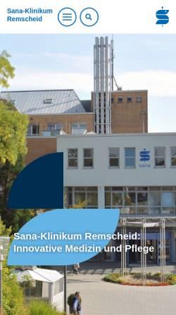 Vorschau der mobilen Webseite www.sana-klinikum-remscheid.de, Sana-Klinikum Remscheid GmbH
