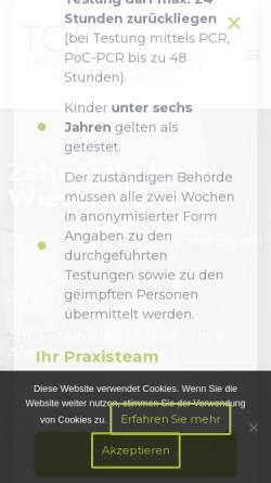 Vorschau der mobilen Webseite www.top-dent.de, Dr. P. Petermann, Dr. R. Kindler, Dr. M. Bantel