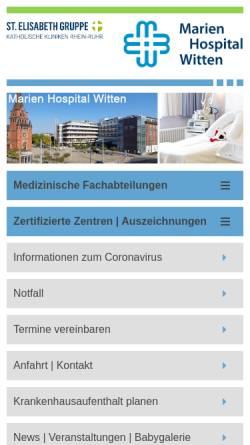 Vorschau der mobilen Webseite www.marien-hospital-witten.de, Marien-Hospital
