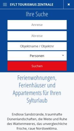 Vorschau der mobilen Webseite www.sylt-tourismus.de, Sylt Tourismus Zentrale