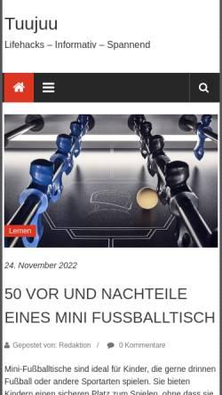 Vorschau der mobilen Webseite www.tuujuu.de, Tuujuu Geschenkideen, Inh. Barbara Gard