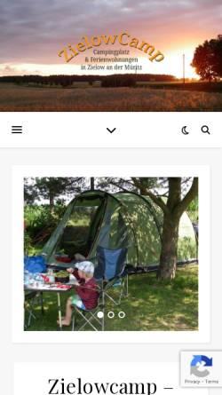 Vorschau der mobilen Webseite www.zielowcamp.de, Campingplatz & Ferienwohnungen