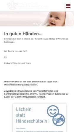 Vorschau der mobilen Webseite www.praxis-weynen.de, Physiotherapie-Praxen Weynen und van Kempen
