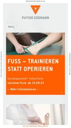 Vorschau der mobilen Webseite www.physio-gromann.de, Physiotherapie-Praxis Gromann