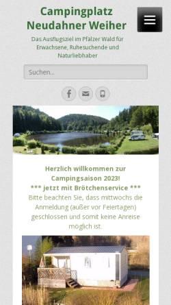Vorschau der mobilen Webseite www.neudahner-weiher.de, Campingplatz Neudahner Weiher