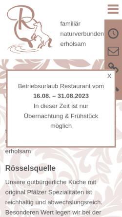 Vorschau der mobilen Webseite www.roesselsquelle.de, Hotel - Restaurant Rösselsquelle