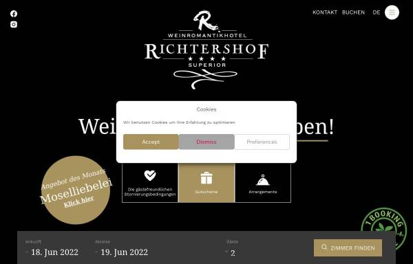 Vorschau von www.weinromantikhotel.com, Weinromantikhotel Richtershof