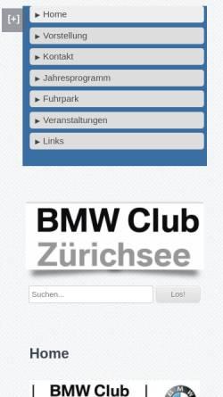 Vorschau der mobilen Webseite www.bmw-club-zuerichsee.ch, BMW Club Zuerichsee