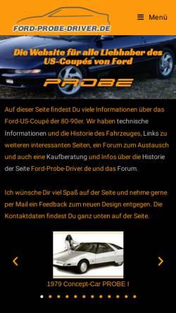 Vorschau der mobilen Webseite www.ford-probe-driver.de, Ford-Probe-Driver.de