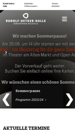 Vorschau der mobilen Webseite www.rudolf-oetker-halle.de, Rudolf Oetker Halle Bielefeld