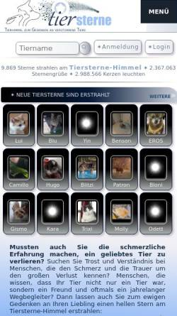 Vorschau der mobilen Webseite tiersterne.de, Tiersterne-Himmel