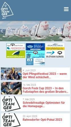 Vorschau der mobilen Webseite www.opti-berlin.de, Deutsche Optimist Dinghy Vereinigung - Region Berlin