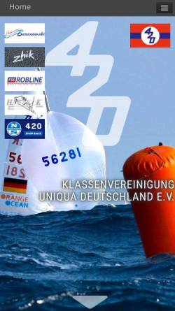 Vorschau der mobilen Webseite uniqua.de, Uniqua Deutschland - Deutsche Sektion der Internationalen 420 Class Association