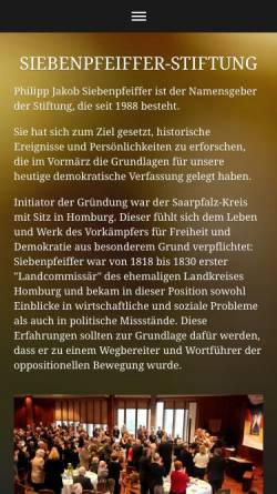 Vorschau der mobilen Webseite www.siebenpfeiffer-stiftung.de, Siebenpfeiffer Stiftung