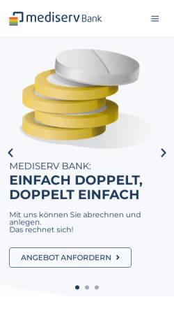 Vorschau der mobilen Webseite mediserv.de, Mediserv Abrechnungsservice für Heilberufe GmbH