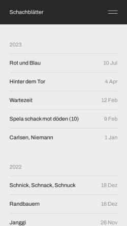 Vorschau der mobilen Webseite schachblaetter.de, Schachblätter