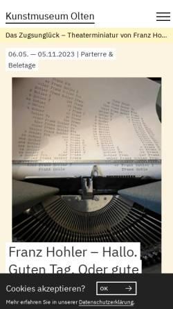 Vorschau der mobilen Webseite www.kunstmuseumolten.ch, Kunstmuseum Olten
