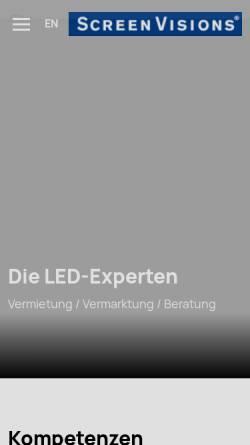 Vorschau der mobilen Webseite www.screenvisions.com, Screen Visions GmbH