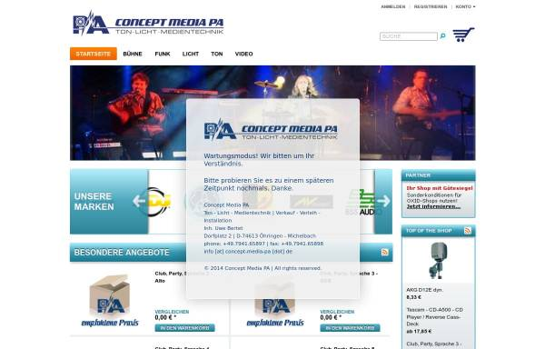 Vorschau von www.concept-media-pa.de, Concept Media Veranstaltungstechnik, Inh. Uwe Bertet