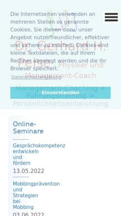 Vorschau der mobilen Webseite www.peise.com, Dr. Peise Coaching und Training
