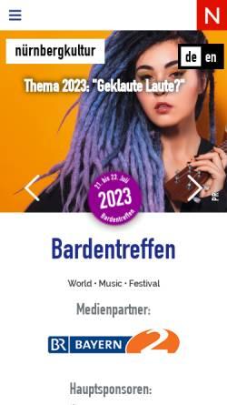 Vorschau der mobilen Webseite www.bardentreffen.de, Bardentreffen Nürnberg