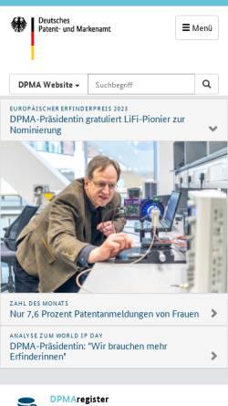 Vorschau der mobilen Webseite www.dpma.de, Deutsches Patent- und Markenamt (DPMA)