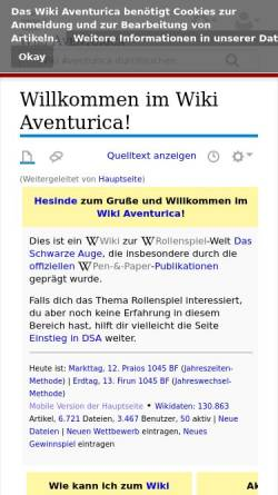 Vorschau der mobilen Webseite www.wiki-aventurica.de, Wiki Aventurica