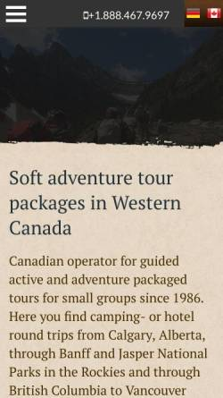 Vorschau der mobilen Webseite www.timberwolftours.com, Timberwolf Tours, Edmonton