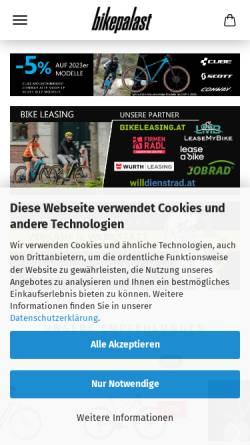 Vorschau der mobilen Webseite www.bikepalast.com, Bikepalast Versand GmbH&CoKG