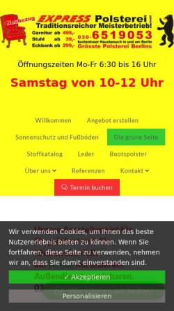 Vorschau der mobilen Webseite www.expresspolsterei.de, Express Polsterei GmbH