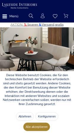 Vorschau der mobilen Webseite lakeside.de, LAKESIDE INTERIORS - Home Collections