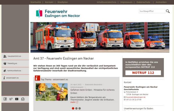 Vorschau von feuerwehr.esslingen.de, Freiwillige Feuerwehr Esslingen a.N