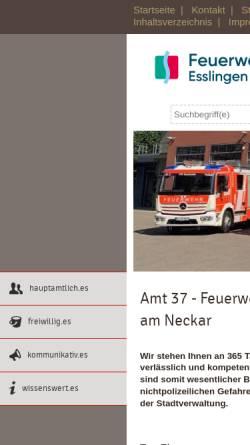 Vorschau der mobilen Webseite feuerwehr.esslingen.de, Freiwillige Feuerwehr Esslingen a.N