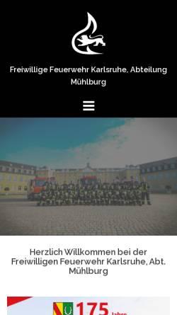 Vorschau der mobilen Webseite ff-muehlburg.de, Freiwillige Feuerwehr Karlsruhe - Abteilung Mühlburg