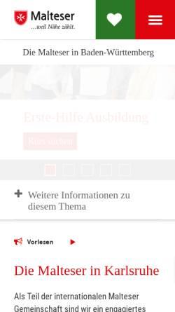 Vorschau der mobilen Webseite www.malteser-karlsruhe.de, Malteser Hilfsdienst e.V.