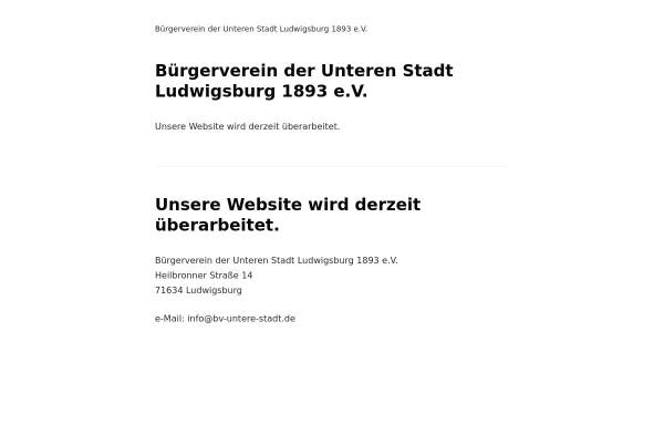 Vorschau von bv-untere-stadt.de, Bürgerverein der Unteren Stadt Ludwigsburg