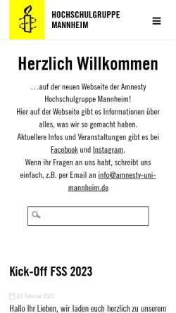 Vorschau der mobilen Webseite www.amnesty-uni-mannheim.de, amnesty international Hochschulgruppe Mannheim