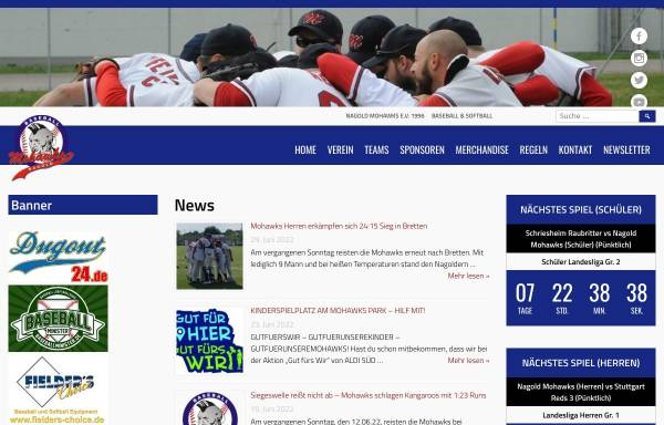 Vorschau von www.nagold-mohawks.de, Nagold Mohawks - Baseball and Softball e.V.