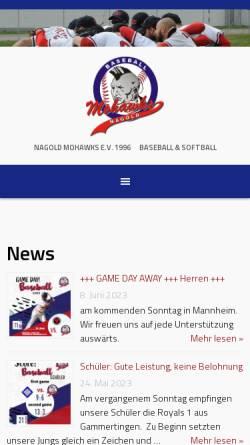 Vorschau der mobilen Webseite www.nagold-mohawks.de, Nagold Mohawks - Baseball and Softball e.V.