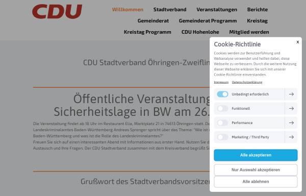 Vorschau von cdu-oehringen.de, CDU-Stadtverband Öhringen/Zweiflingen