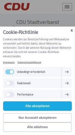 Vorschau der mobilen Webseite cdu-oehringen.de, CDU-Stadtverband Öhringen/Zweiflingen