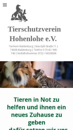 Vorschau der mobilen Webseite www.tierschutzverein-oehringen.de, Tierschutzverein Öhringen und Umgebung e.V.