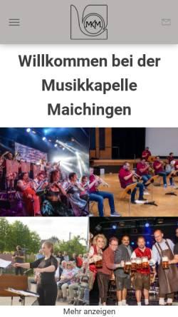 Vorschau der mobilen Webseite www.musikkapelle-maichingen.de, Musikkapelle Maichingen
