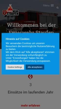 Vorschau der mobilen Webseite www.feuerwehr-staufen.de, Feuerwehr Staufen