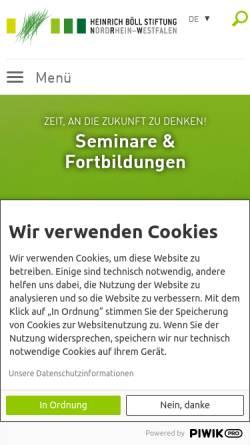 Vorschau der mobilen Webseite www.boell-nrw.de, Heinrich Böll Stiftung NRW