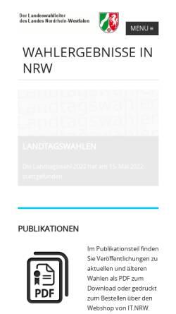 Vorschau der mobilen Webseite www.wahlergebnisse.nrw.de, Die Landeswahlleiterin des Landes Nordrhein-Westfalen