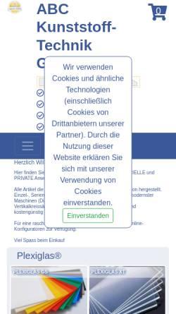 Vorschau der mobilen Webseite www.acrylglas.ch, ABC Kunststoff-Technik GmbH
