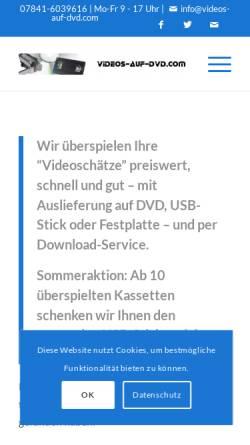 Vorschau der mobilen Webseite www.vhs-auf-dvd.com, VHS auf DVD, Gerlinde Joachim