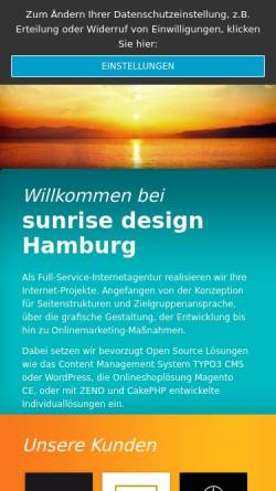 Vorschau der mobilen Webseite www.sunrise-design.de, Sunrise design OHG