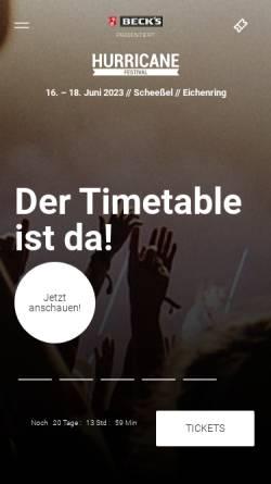 Vorschau der mobilen Webseite www.hurricane.de, Hurricane
